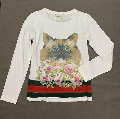 f8582061b Kid's Girls GUCCI White Cotton Cat Floral Print Long Sleeve Top Shirt Size  10