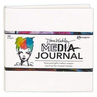 "Dina Walkley White 6"" x 6"" Heavyweight Cotton Paper Journal for Mixed Media"