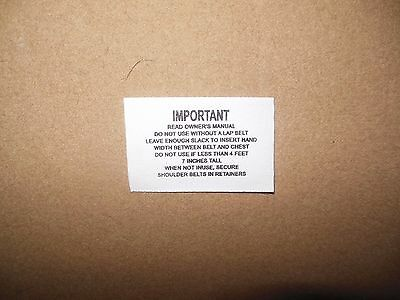 1968-69 Chevy Camaro Seat belt label Hamill IMPORTANT READ OWNERS MANUAL