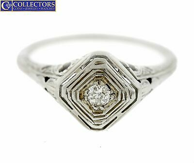 Ladies Antique Art Deco 18K White Gold 0.10 CT Diamond Filigree Engagement Ring