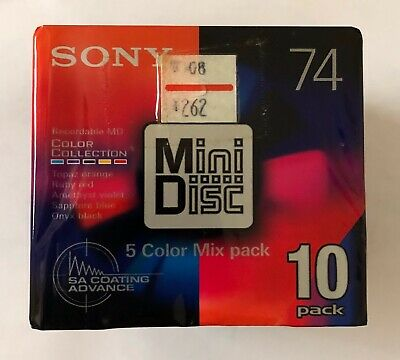 Sony MD 74 Minidiscs 5 Color Mix pack - 10 Pack - Sealed
