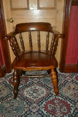 Victorian Antique Smokers Bow Elbow armchair or Captains Chair Stamped B R (W)