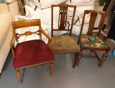 Trio of Random Early 20th Century Chairs Retro Old Vintage Wooden Chairs