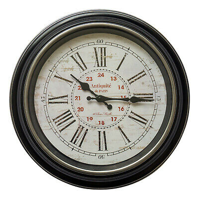 Antique French Style Round 40cm Large Wall Clock Roman Numerals Black Wash