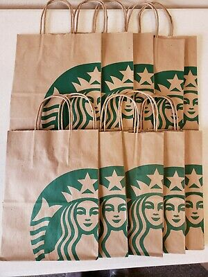 (10) Starbucks Reusable Brown Kraft Paper Shopping Lunch Gift Bags With Handles