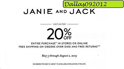 JANIE & JACK PROMO CODE COUPON  - Enjoy 20% off Entire Purchase!! - Exp 08/02/19