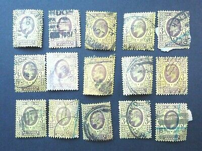 086 - GB STAMPS - EDWARD V11 - 15x 3d STAMPS - HARRISON PRINTING - ON/OFF PAPER