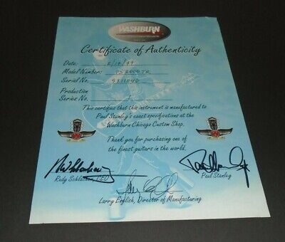 Kiss Paul Stanley Official Signed Autographed Auto Washburn Guitar Certificate