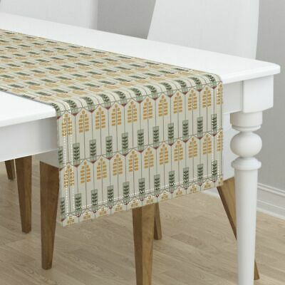Table Runner Prairie Style Geometric Arts And Crafts Gold Green Cotton Sateen