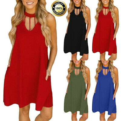 Fashion Women Loose Casual Summer Pockets Sleeveless Vest Beach Maxi Dress