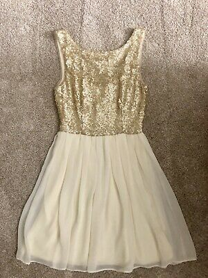 1212c7cac NWT JUNIORS B. Darlin Sequin Dress Size 7/8 Ivory White Gold Retail ...