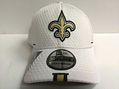 free shipping 40b7d 531f7 New Orleans Saints Cap New Era 39Thirty Stretch Fit Hat White 2019 Training  Camp