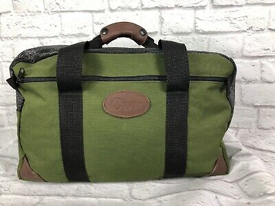 ORVIS Leather Green Nylon Duffle Bag Overnight Fishing Made in the USA