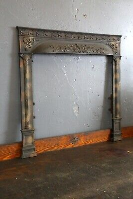 Antique Cast Iron Victorian Fireplace Surround, Ornate, Japanned Finish, Gothic