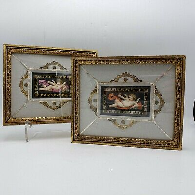 Vintage Pair of Hand Painted Framed Porcelain Plaques w/ Cherubs KPM Quality