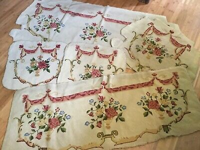 Antique Victorian 5 pcs needlepoint covers for parlour set settee~bench~chairs