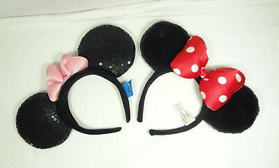 Lot Of 2 Authentic Disney Parks Minnie Mouse Ear Headband With Pink & Red Bow