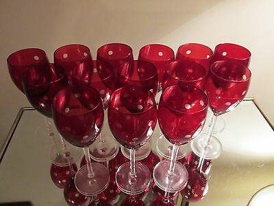 """14 Ruby Flash POLKA DOTS Goblets 12oz Water Wine Glasses 9"""" Red Bowl Clear Stems"""