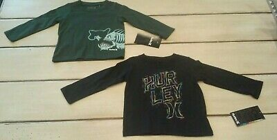 Lot of 2, NWT Hurley Infant Toddler Boys Long Sleeve Logo T-Shirts Cotton 12M