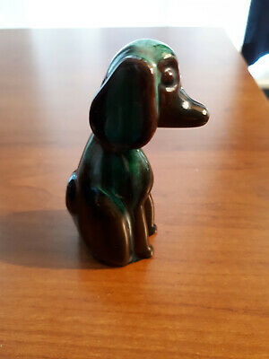 Blue Mountain Pottery BMP Miniature Afghan Hound Dog Figurine Green Glaze 3.25""
