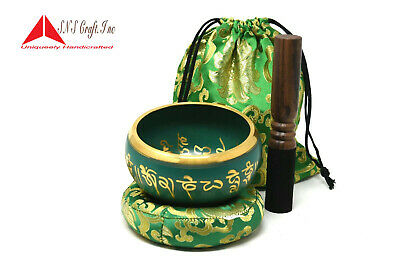 5 Inch Tibetan Meditation Yoga Singing Bowl Set with MalletCushion and carry bag