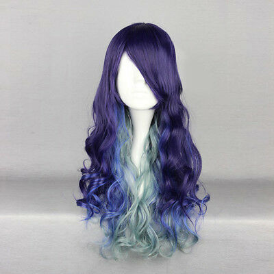 AU Fashion Purple Blue Mix Green Long 70CM Curly Lolita Lady Cosplay Wig+Cap