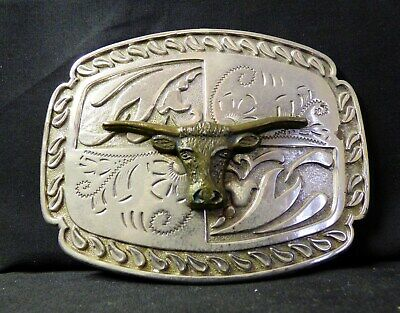 Vintage Mens Belt Buckle -BULL HEAD-Texas Long Horn Silver-Toned WESTERN STYLE