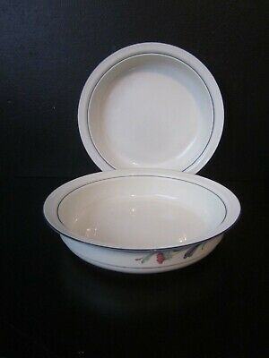 """2 Lenox Chinastone Poppies on Blue / For the Blue 9.625"""" Round Vegetable BowlS"""