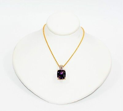 Amethyst & Diamond 6.11tcw 14kt Yellow Gold Pendant Women's Necklace