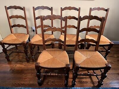 FRENCH PROVINCIAL HIGH BACK LADDER CHAIRS, set of 6 walnut rush chairs, ca. 1950