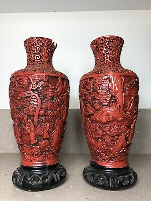 Very old Chinese mirrored Landscape Cinnabar lacquer hand made big vases Damaged
