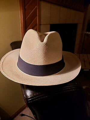 238372ab GUCCI WOMEN'S Beige Straw And Leather Panama Hat Size Small ...