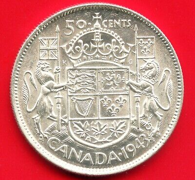 1943 Canada Silver 50 Cent Piece (Narrow Date) 11.66 Grams .800