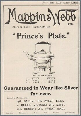 1907 Print Ad Mappin & Webb Prince's Plate Kettle on Stand Silver Kitchenware