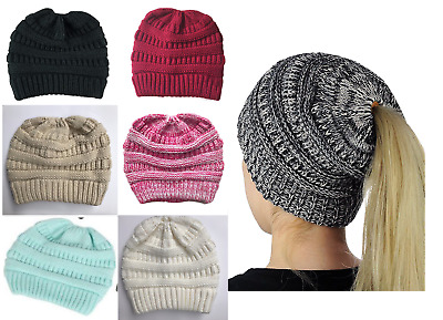 Women's Ponytail Beanie Ribbed Winter Messy Bun Cable Warm Soft Knit Hat Cap