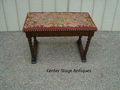 60112 Antique Hand Made Needlepoint Bench Stool Chair