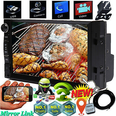"Android Double DIN 7"" HD Car Stereo GPS Sat Navigation WiFi 4G Radio with Camera"