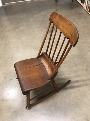 True Antique Primitive Wood Windsor Women's Sewing and Rocking Chair c 1800's