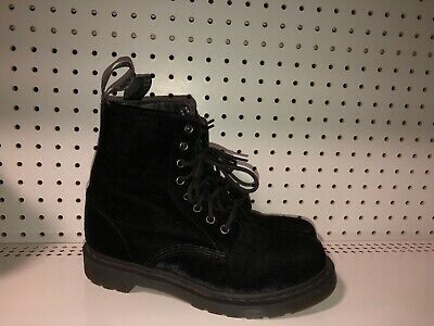 aa76ab0ff Dr. Martens Page 8-Eye Womens Velvet Air Wair Combat Boots Size 8 Black