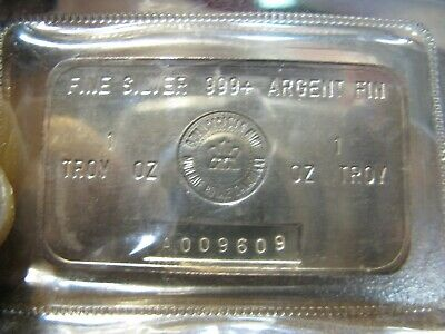 Rare 1 oz Silver RCM Bar 999 Fine - Royal Canadian Mint Series A0096009 - Sealed
