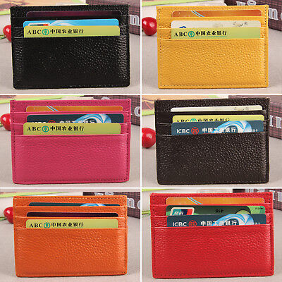 Unisex Men Women Small Id Credit Card Wallet Holder Leather Slim Pocket Case AU