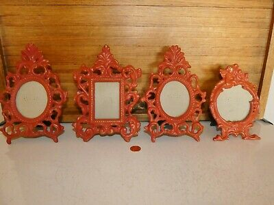 4 vintage scrolled metal red cast iron standing small PICTURE FRAMES