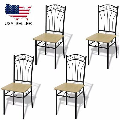 4pcs Dining Chairs Light Brown Metal Home Kitchen Dining Room Office Furniture