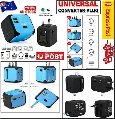 NEW Universal Travel Adapter Fast Worldwide All-in-one Plug Socket UK/US/EU/AUS