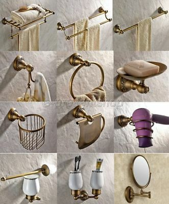 Antique Brass Carved Bathroom Accessory Set Bath Hardware Towel Bar