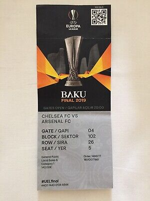 Used ticket stub Europa League Final 2019 Chelsea v Arsenal in Baku with names
