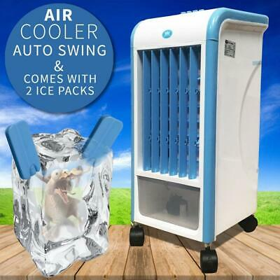 3.5L Evaporative Air Cooler Portable Fan Humidifier 3 Speed Home + 2 x Ice Packs