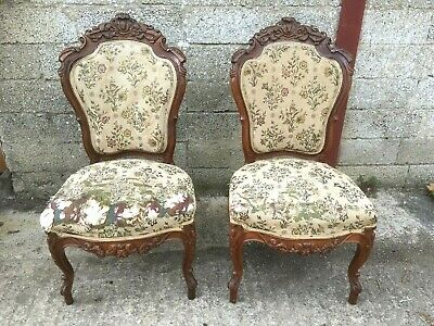 Pair Of Antique French Carved Walnut Salon Chairs