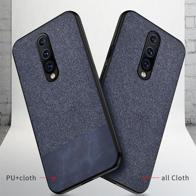 Cloth Splice Fabric Case For OnePlus 7 Pro Shockproof Soft Silicone Slim Cover