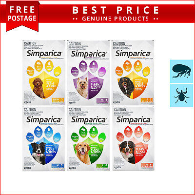 SIMPARICA Flea and Tick Prevention for Dogs 6 Doses All Sizes by Zoetis